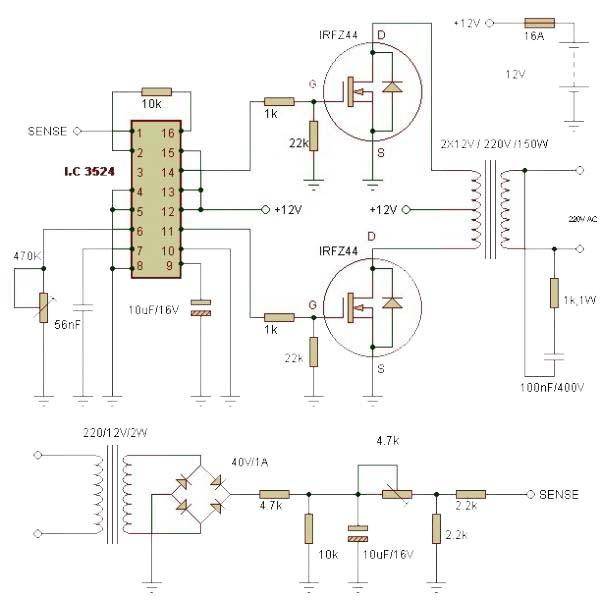 150W-Inverter-circuit-using-IC-LC3524-IRFZ44