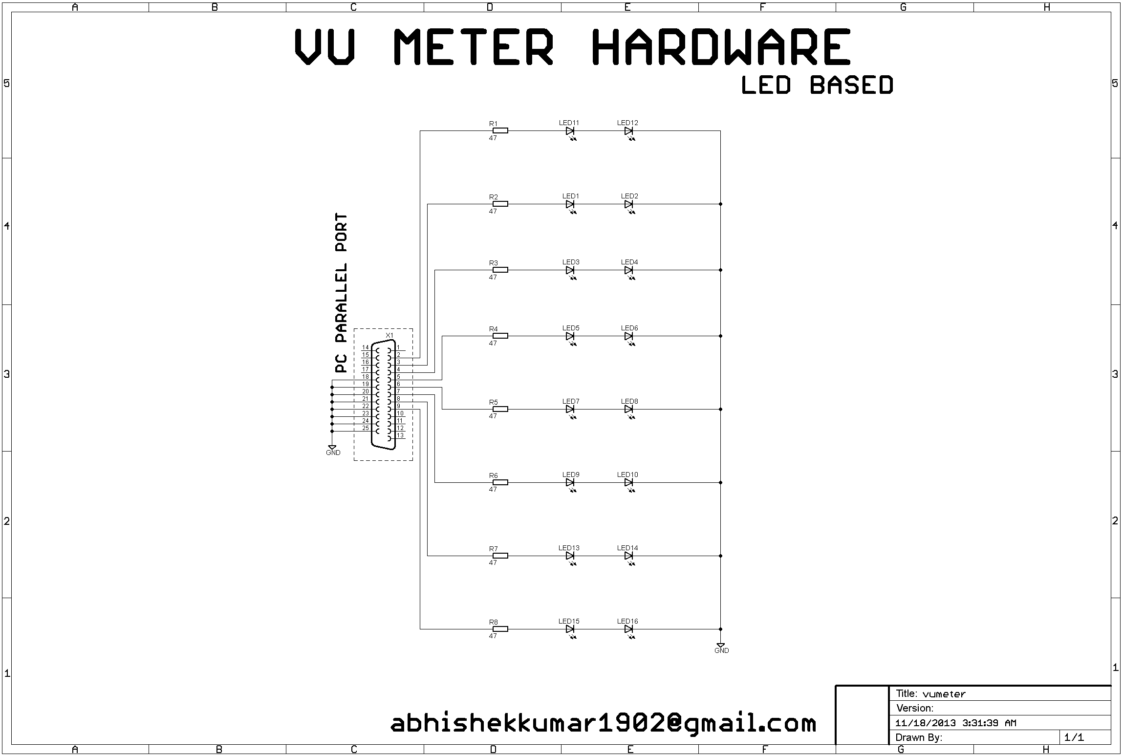 parallel port based vu meter